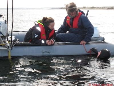 Feldarbeit mit Schlauchboot und Taucher